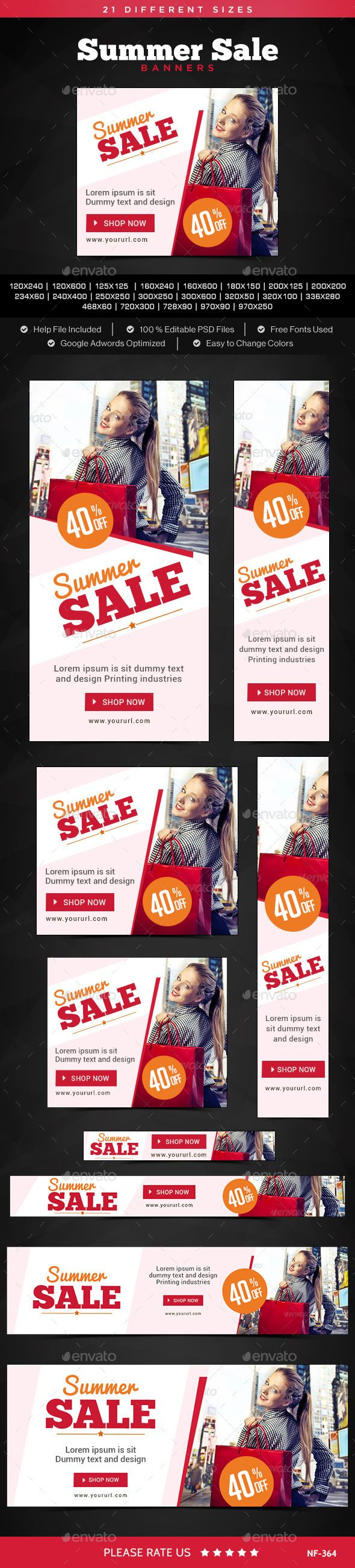 Summer Sale Banners Template #design Download: http://graphicriver.net/item/summer-sale-banners/11380385?ref=ksioks
