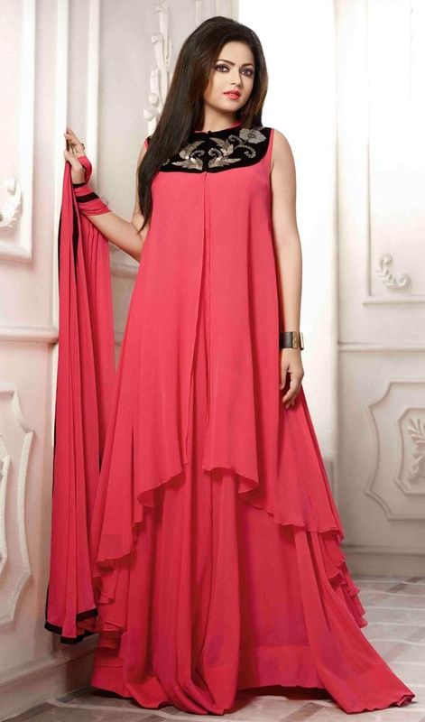 Go live with an attractive charm like Drashti Dhami on wearing this salmon color georgette embroidered suit. The stunning resham and sequins work all through suit is awe-inspiring. #fabulousdesignsuit #pinkcolordress #newstyledresses