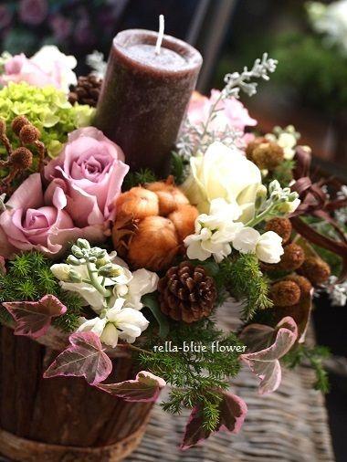 クリスマスのキャンドルアレンジ☆ |静岡市フラワーアレンジメンント教室&ブーケサロン レラブルー rella-blue flower