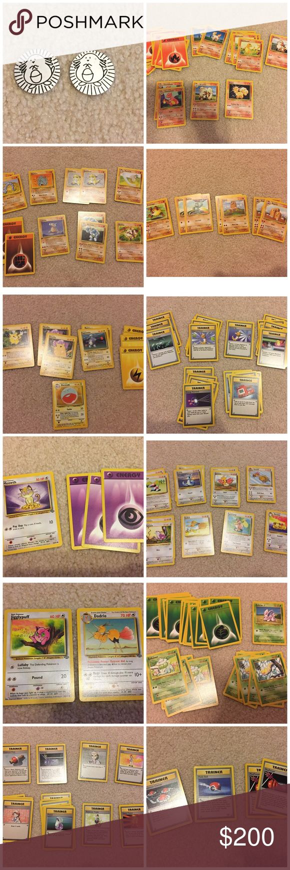 Lot of Pokémon Cards + 2 Pogs Random assortment of Pokémon cards. One holographic (Electrode). 2 holographic Pogs. Also willing to sell any cards separately. Haven't looked into what year/edition cards are so if you need closer pics just ask. Pokemon Other