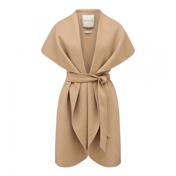Forever New Lilliana Sleeveless Waterfall Jacket (€110) ❤ liked on Polyvore featuring outerwear, jackets, coats, vests, coats & jackets, beige jacket, forever new, waterfall jacket, no sleeve jacket and sleeveless jacket