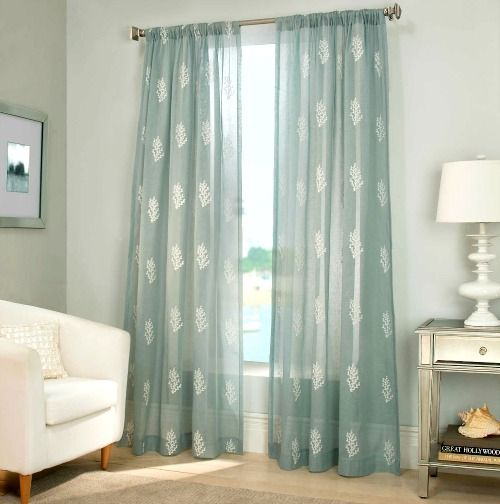 Coastal Coral Reef Sheer Curtains... http://www.completely-coastal.com/2016/10/coastal-nautical-window-treatments.html