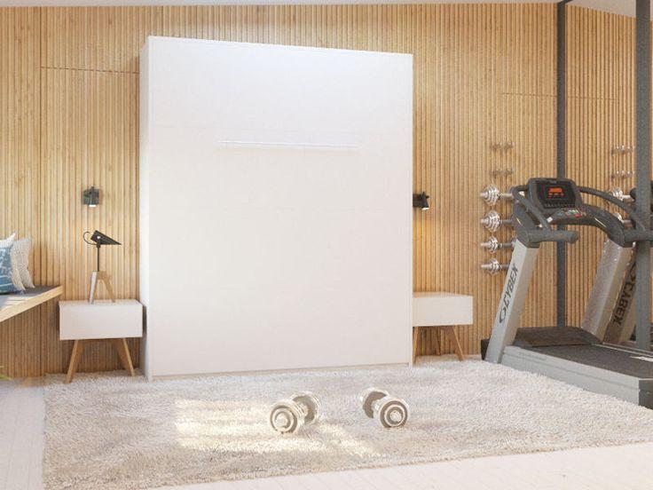 Schrankbett 160x200 Weiß Gasdruckfedern Wall Bed Klappbett Wandbett SMARTBett