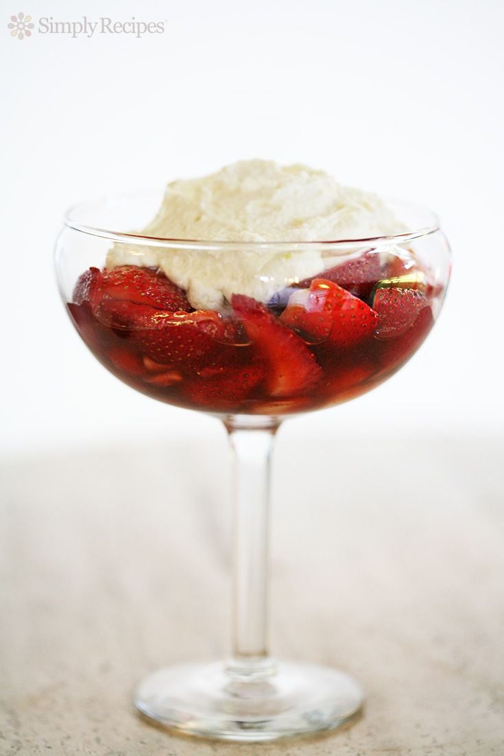 Ricotta-Mascarpone Mousse with Balsamic Strawberries ~ A beautiful blend of fresh strawberries, aged balsamic vinegar, and a hint of sugar, topped with a ricotta-mascarpone mousse. ~ SimplyRecipes.com