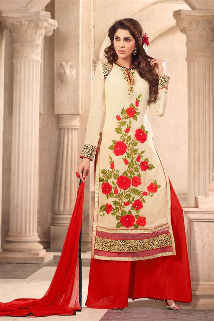 Astounding Cream Color Designer Palazzo Suit Palazzo Suits