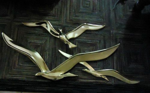 Set Large Mid Century Gold Syroco Seagulls Birds In Flight
