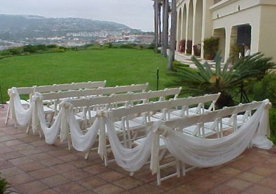"""love it...this would tie the rest of the wedding site to the pergola in front and create the aisle as a """"no step zone"""" for the guests"""