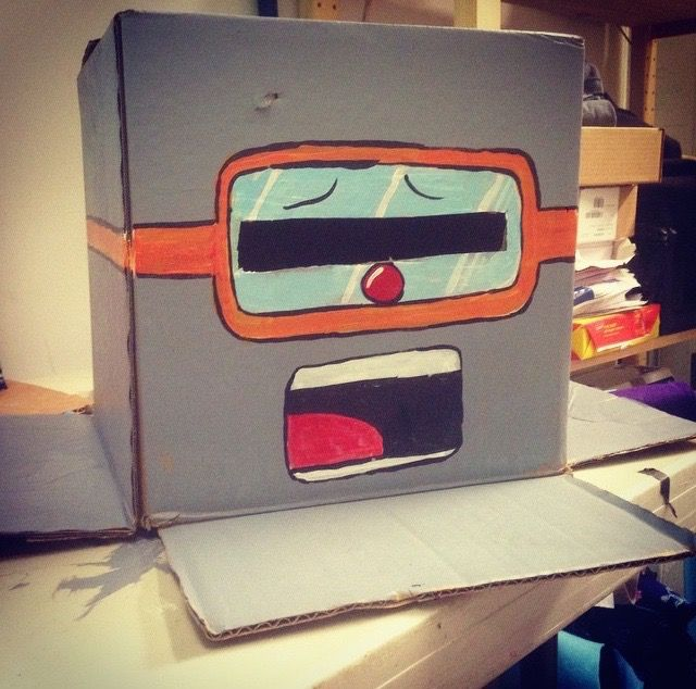 robot head from cardboard box!  Thanks to Garret Davis for the design from the Robot Dance video!