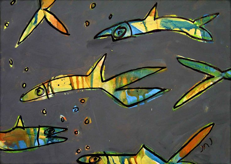 """Grey Water, Bright Fish"" Acrylic Paint on Paper  I like the quirky nature of these fish, like they are there just to have fun.  http://www.janickejohansen.com/other-animals.html"