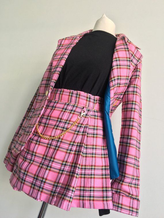 3c9a4992b Clueless Cher x Dionne Inspired Tartan Pleated Skirt & Blazer Suit   Co-ord  Set   UK Sizes 4-14   Available in 18 Colours
