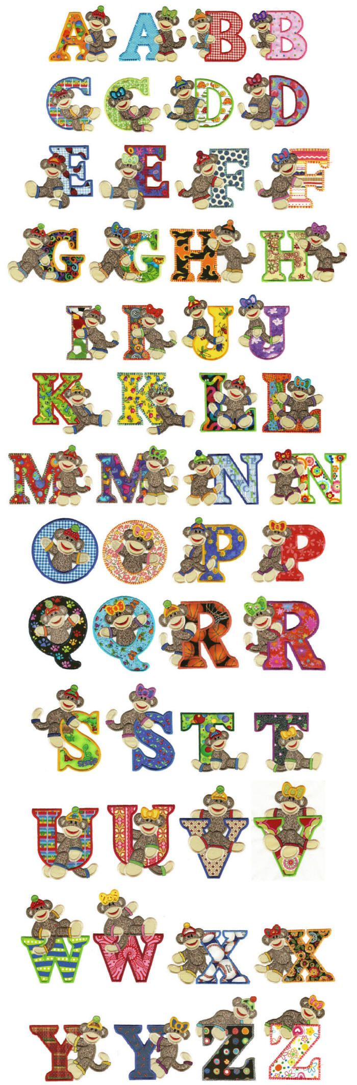 sock monkey applique alphabet machine embroidery designs applique