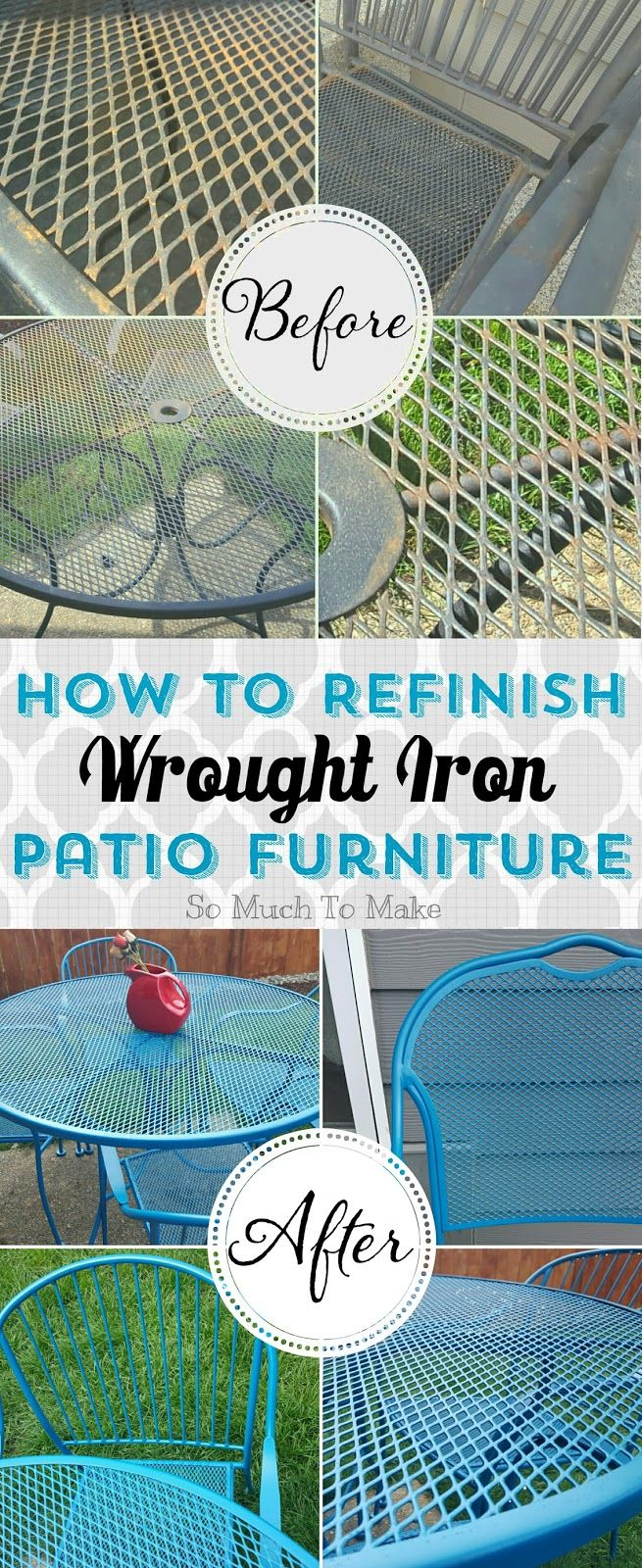 How to Refinish Wrought Iron Patio Furniture; DIY instructions to turn rusty old wrought iron into bright like-new furniture!