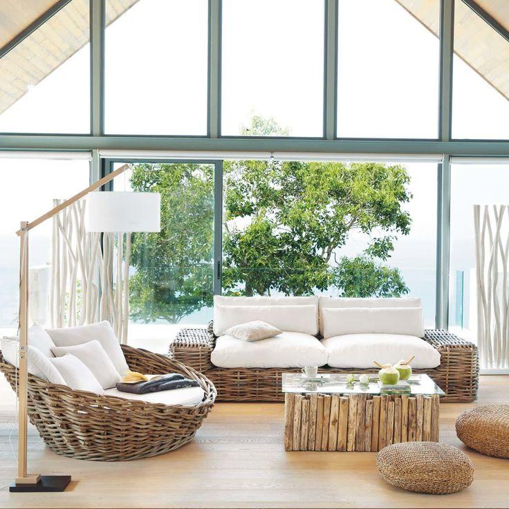 Canapé d'extérieur rond 1/2 places rotin St Tropez | Maisons du Monde