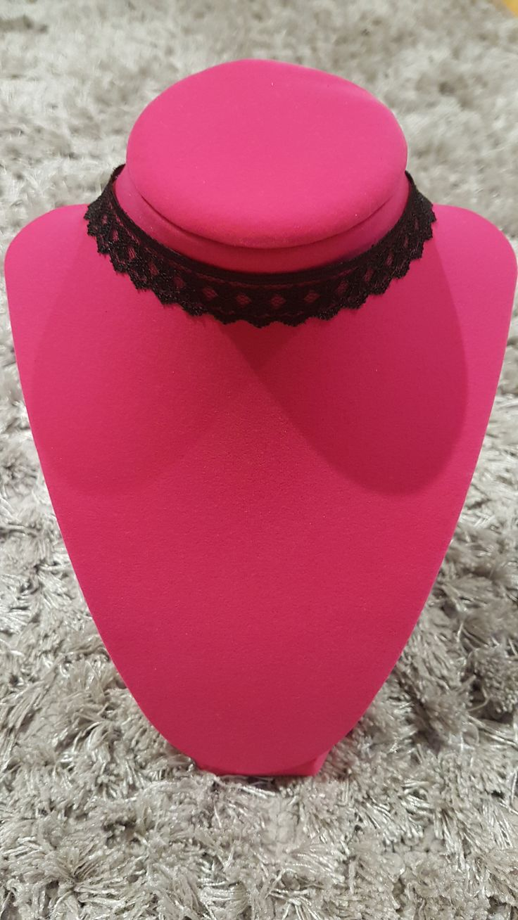 Black lace choker with charcoal clasps