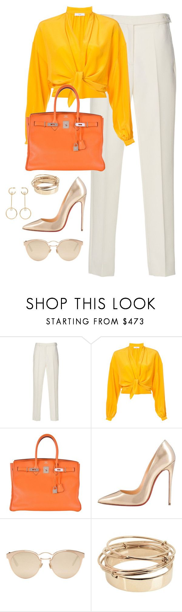 """""""Untitled #4748"""" by magsmccray ❤ liked on Polyvore featuring Tome, Hermès, Christian Louboutin, Christian Dior, Valentino and Chloé"""
