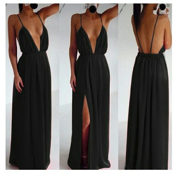Daring low cut dress This dress will make jaws drop. Features spaghetti straps with a low cut deep V neck. Dresses Maxi