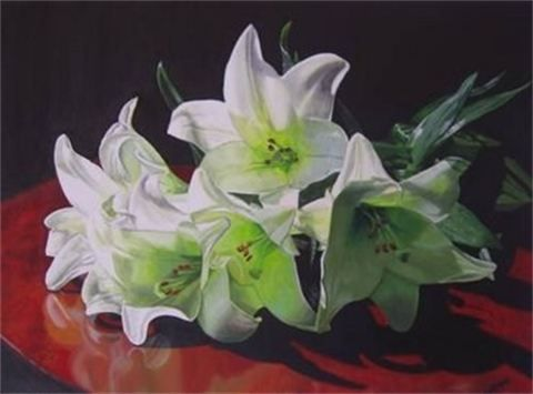 Lilies : Acrylic on Canvas  450mm high x 610mm wide  SOLD