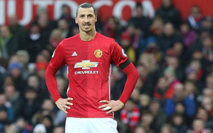 Descargar fondos de pantalla MU, el partido, Zlatan Ibrahimovic, de la Liga Premier, a las estrellas del fútbol, Ibra, el logotipo, el Manchester United, los futbolistas