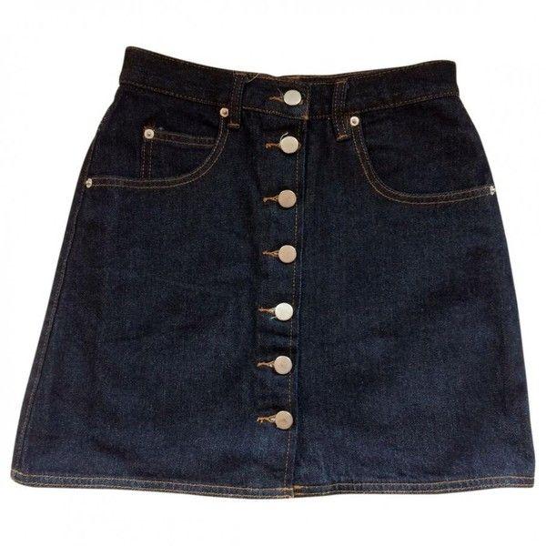 As new denim 70s skirt ASOS ($32) ❤ liked on Polyvore featuring skirts, bottoms, long denim skirts, asos, long blue skirt, asos maxi skirt and blue skirt