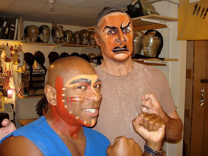 Mufasa and Scar getting into makeup for THE LION KING on Broadway!