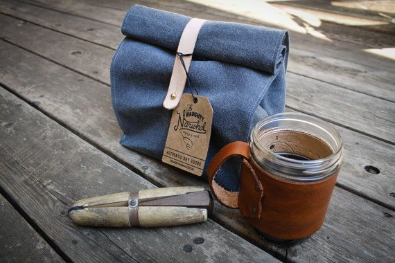 Waxed Canvas and Leather Roll Top Reusable Lunch by PeddlingPanda