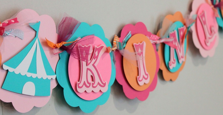 Pink Turquoise and Orange Vintage Circus Name or Its a Girl Banner Shabby Chic Carnival Party Baby Shower Decorations. $24.50, via Etsy.