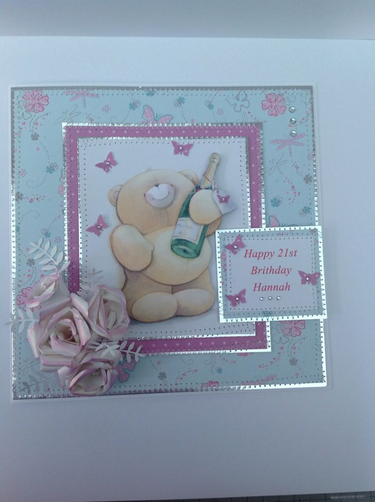 Docrafts forever friends card for 21st with stitched edges