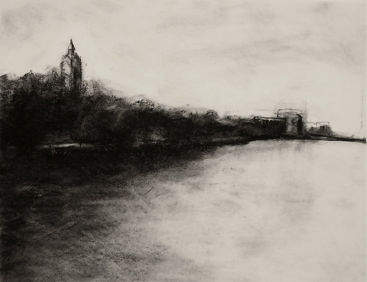 An amazing charcoal drawing drawn in perspective view of a seaside industrial estate. charcoal landscape drawings - Google Search