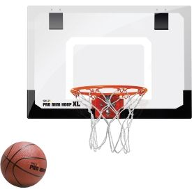 Score a slam dunk in your home, office or dorm room! The SKLZ ® Pro Mini-Hoop XL offers the same look and feel of a professional basket. This set comes with a clear polycarbonate shatter-proof backboard, spring-action break-away steel rim and a mini basketball. The easy-assembly foam-padded mounts slide on over a door. Practice your free throws with the SKLZ ® Pro Mini-Hoop XL.