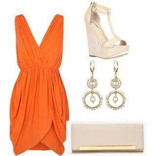 Look Charming On an Orange Dress|Fashion Top Dresses