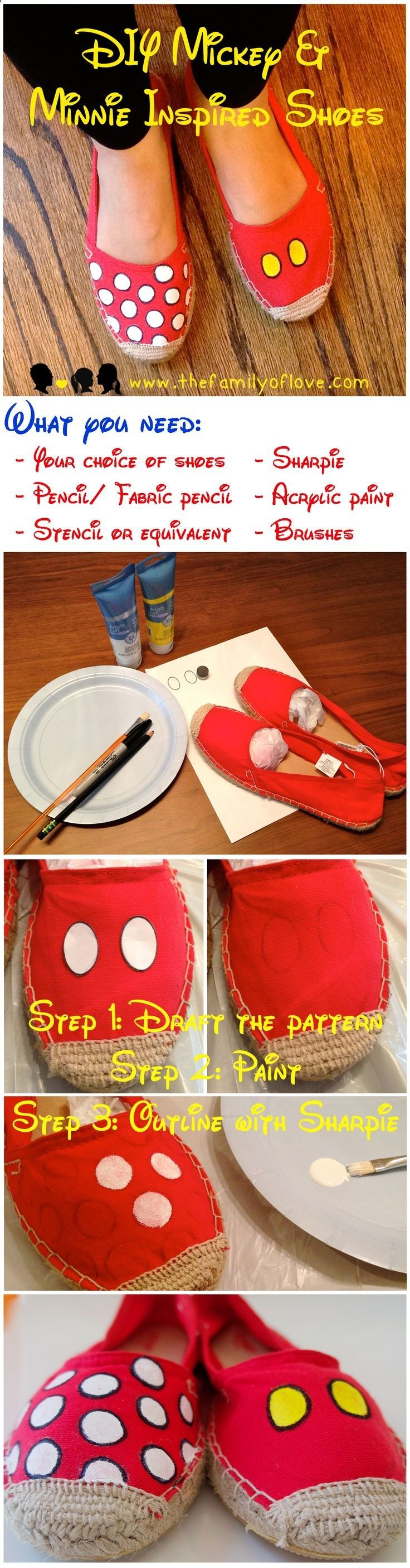 DIY (Tutorial) Minnie Mouse  Mickey Mouse Shoes/ Toms- Disney Trip/ Disney Cruise/ Disneyland/ Disney World Family Outfits