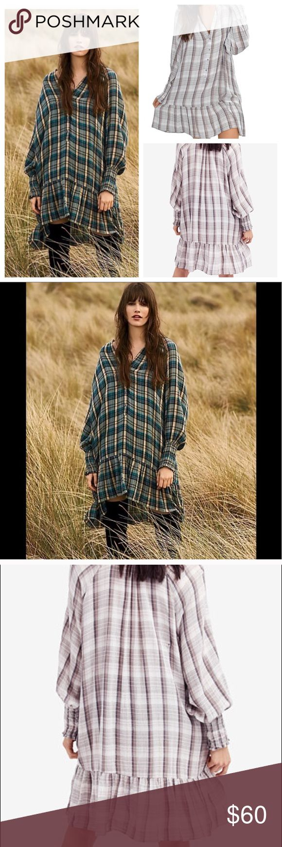 Free People Red Moon Plaid Mini Dress Price tag is attached. Ribbon size tag is not (it's held on with the plastic barb for the price tag). Lovely neutral combo with tones of oatmeal grey and tan. $70 on Free People (this color sold out). Cheaper from my closet! 😘 Free People Dresses Mini
