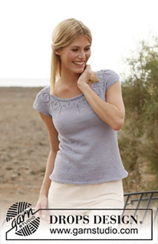 """Ravelry: 138-3 """"Mirabell"""" - Top with round yoke and lace pattern in """"Muskat"""" pattern by DROPS design"""