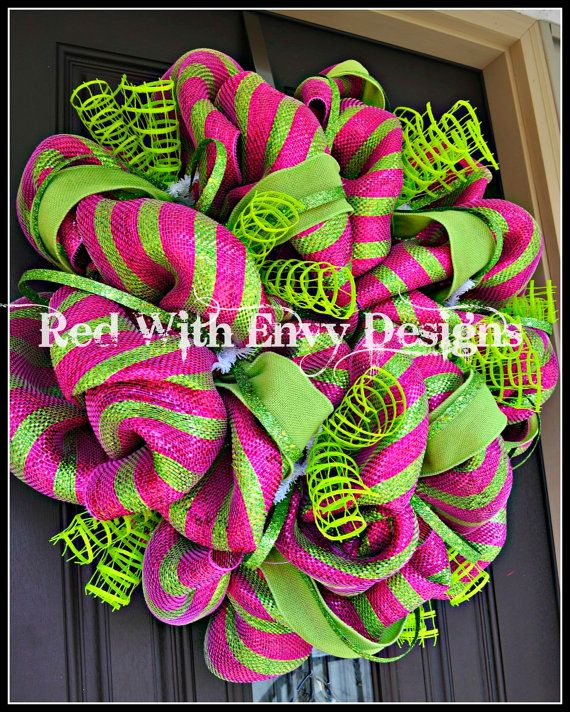 Fun pink and lime green deco mesh wreath by RedWithEnvyDesigns