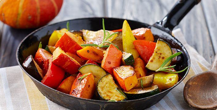 Rezept: Hokkaido-Pfanne mit mediterranem Gemüse