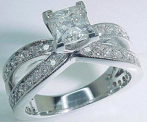 White gold princess cut ring