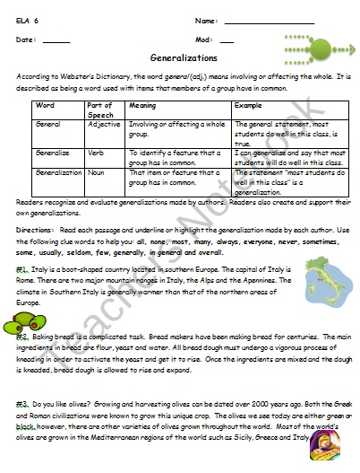 Reading Strategy Worksheet Generalizations Product From
