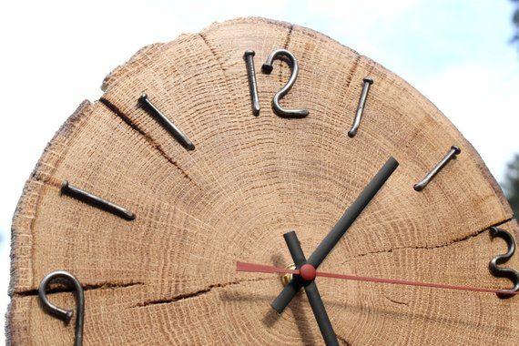 Oak Wood Slice Wall Clock Expensive Wood Old Nails Natural Edge Wild Wood Eco Home Decor Clock Unique Wooden Wall Gift Husband Wall Clock Clock Wood Wall Clock