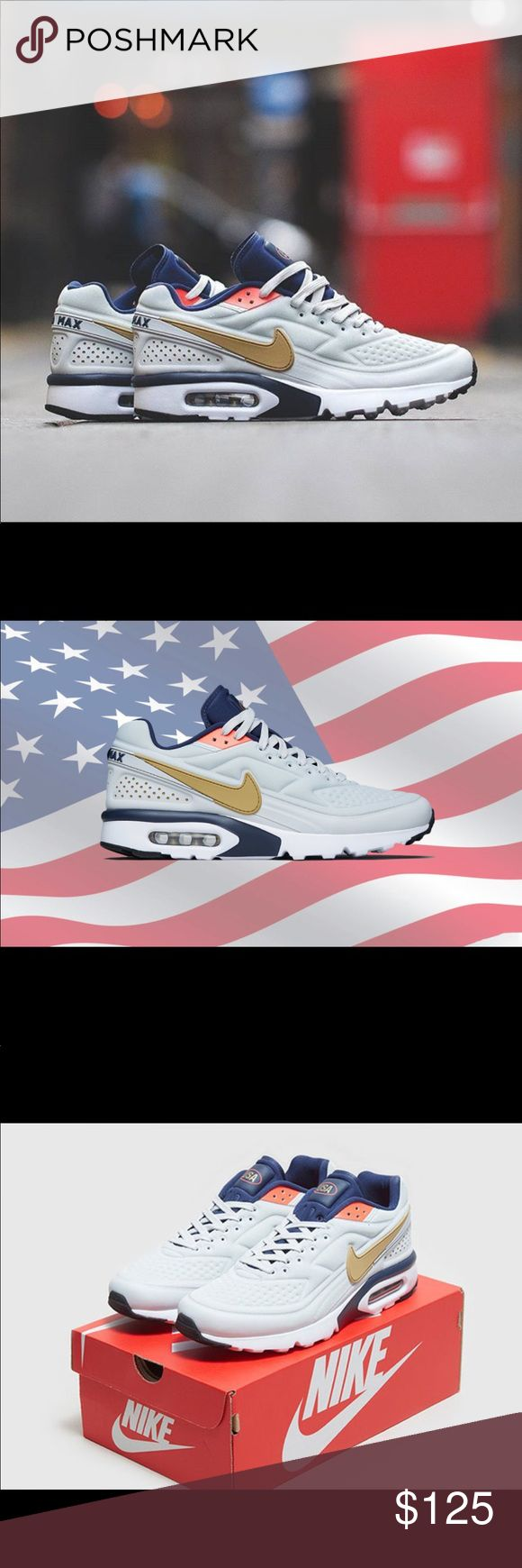 New wo/ box Nike USA Rio Olympic air max size 13 Nike Sportswear will be releasing another USA-inspired silhouette with the debut of the Nike Air Max BW Ultra SE Olympic colorway.  This Nike Air Max BW is inspired by the 2016 Summer Olympics in Rio that comes dressed in a Pure Platinum, Metallic Gold and Midnight Navy color scheme. The shoe features a seamless upper in Pure Platinum with Gold, Navy and Red contrasting accents, completed with a USA logo on the tongue. Nike Shoes Athletic…