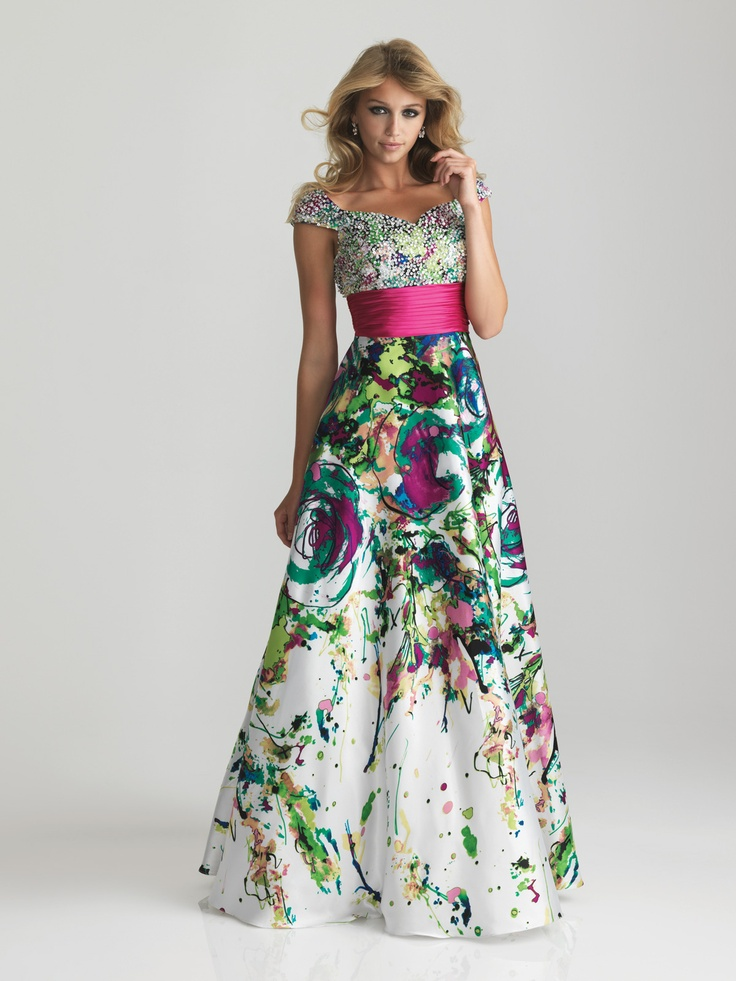 Well, i would have, in my 20's.     to steal the scene on colorful patterned modest prom dress featuring a fully beaded sweetheart bodice as well as beaded cap sleeves. A wide, ruched cummerbund slims the empire waist with glamour, while the A-line skirt is made out of Charmeuse-Satin for added elegance. Perfect to pair with drop earrings and low heel sandals. This 2013 modest formal gown comes in Print.