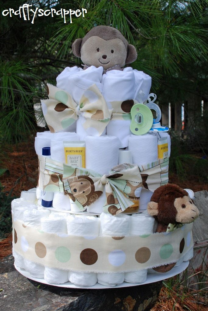 monkey diaper cake, colors are perfect and everything!!!  #diapercake                                                                                                                                                                                 Mehr