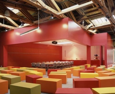 Disney headquarters where foam blocks can be built up to form a wall or set out as a seating system