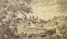 Vista de Buenos Aires a fines del siglo XVIII, vista desde la ribera del Río de la Plata. Litografía de la época.