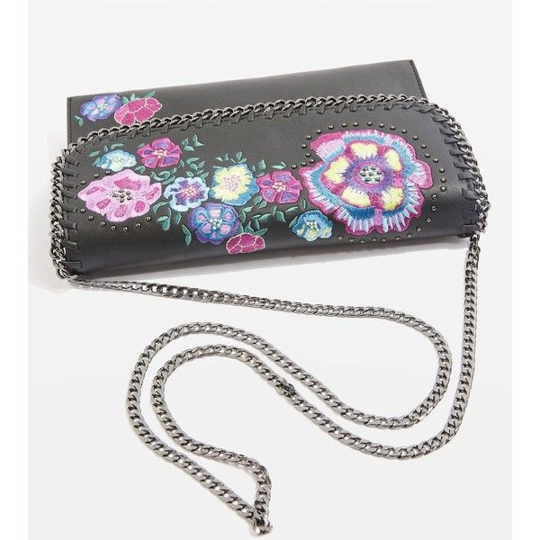 Topshop Chester Floral Clutch Bag ($37) ❤ liked on Polyvore featuring bags, handbags, clutches, evening purses, studded clutches, floral print handbags, topshop handbags and holiday handbags