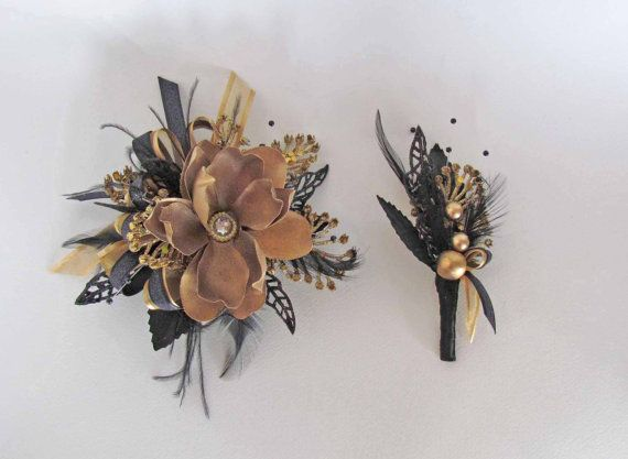 Great Gatsby Gold Black Prom Corsage Ready To Ship By Justanns