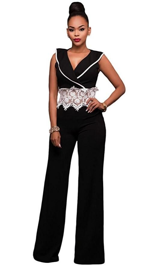 Women's Sexy Deep V Neck Casual Lace Crochet Waist Loose Long Wide Leg Jumpsuits Rompers Long pant