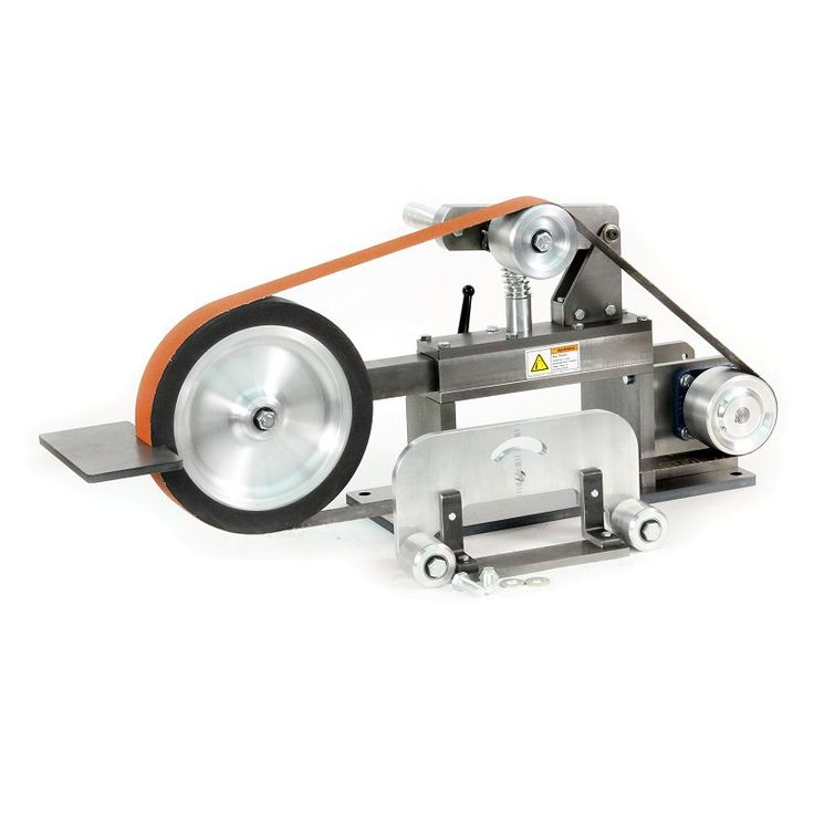 "10"" KMG Grinder  Sold without a motor, this package includes:       1 10"" contact wheel.     1 Platen attachment for flat grinding.     1 Work rest.     1 Tool arm.     1 KMG Chassis.  The drive shaft size is 3/4"" diameter with a 3/16"" keyway.  $970.00"