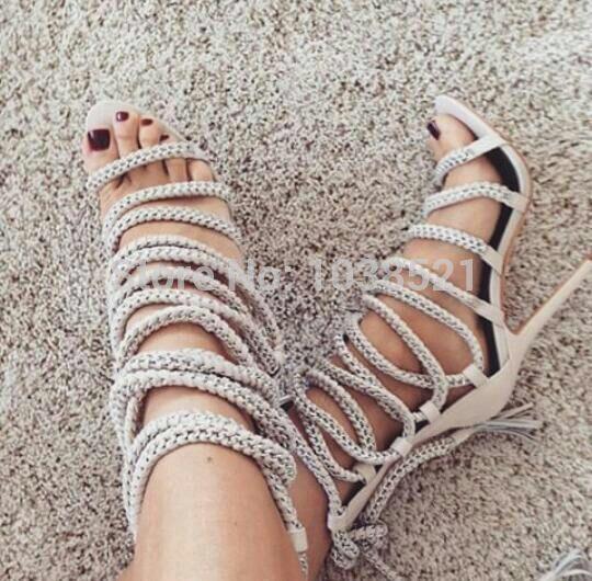Botties гладиатор веревка бинты высокие каблуки в наличии сандалии женщин лодыжки сапоги летняя обувь с девушкой туфли на высоком каблуке бренд реального кожаные ботинки