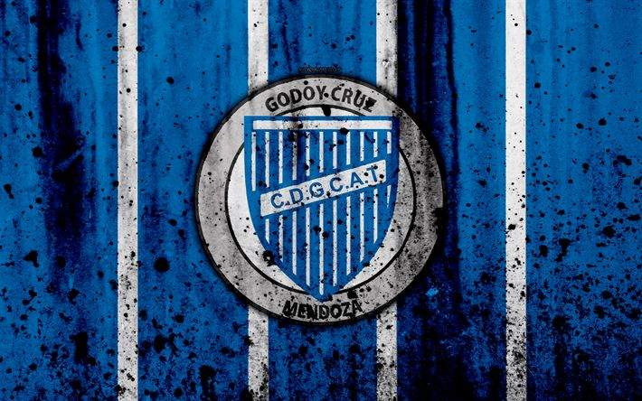 Download wallpapers 4k, FC Godoy Cruz, grunge, Superliga, soccer, Argentina, logo, Godoy Cruz, football club, stone texture, Godoy Cruz FC