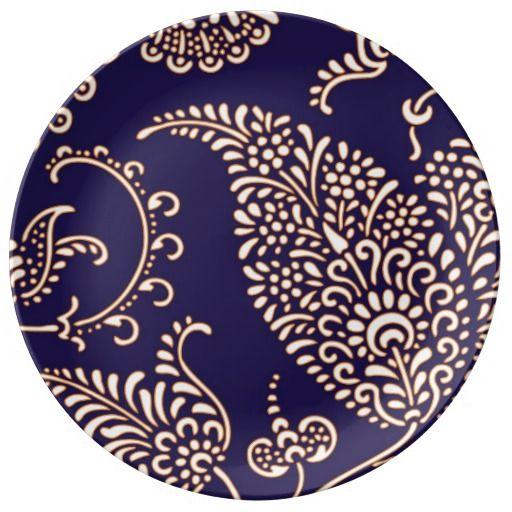 Navy cobalt blue paisley print chic girly floral vintage henna wallpaper pattern vintage retro yet modern preppy porcelain plate.